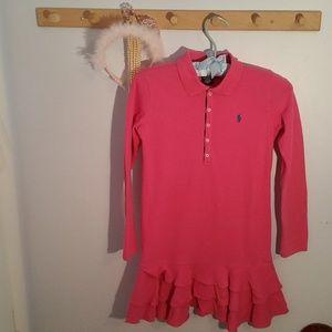 Ralph Lauren Size 8 Solid Pink Long Sleeve Dress
